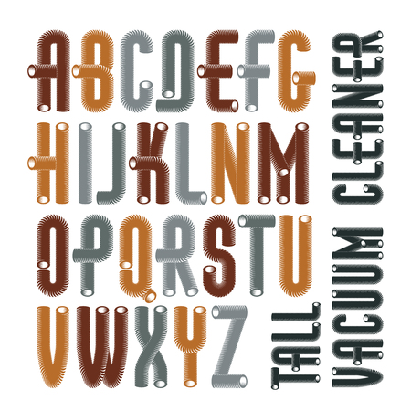 Set of condensed, tall, cool vector upper case English alphabet letters isolated. Retro font, typescript for use in logo design. Made with 3d cylinder tube design, industry style.