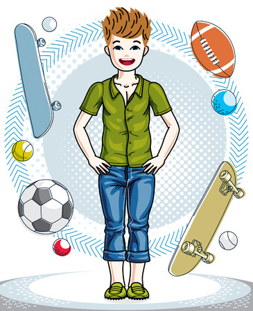 Sweet little boy young teen standing in stylish casual clothes Vector human illustration. Fashion and lifestyle theme cartoon.