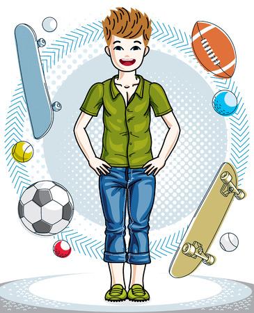 Jovem adolescente do rapaz pequeno doce que está na ilustração elegante do ser humano do vetor da roupa ocasional. Moda e estilo de vida dos desenhos animados do tema. Foto de archivo - 91463842