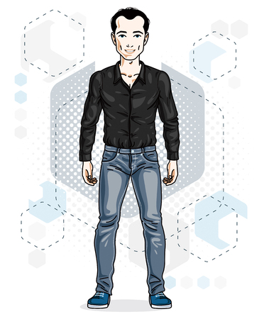 Confident handsome brunet young man standing. Vector illustration of male wearing casual clothes, jeans pants and cotton shirt.