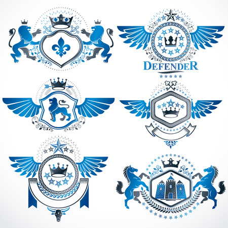 Heraldic vector signs decorated with vintage elements, monarch crowns, religious crosses, armory and animals. Set of classy symbolic graphic insignias with bird wings. Vettoriali