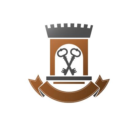 Ancient Citadel emblem. Heraldic vector design element. Retro style label, heraldry. Antique on isolated white background.
