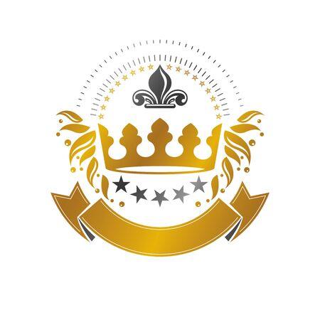 Royal crown emblem. Heraldic vector design element. Retro style label, heraldry logo. Ornate logotype isolated on white background.