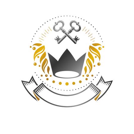 Royal crown emblem. Heraldic vector design element. Retro style label, heraldry logo. Ancient logotype isolated on white background.