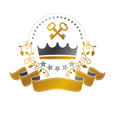 Majestic Crown emblem. Heraldic Coat of Arms decorative logo isolated vector illustration. Ornate logotype on white background.