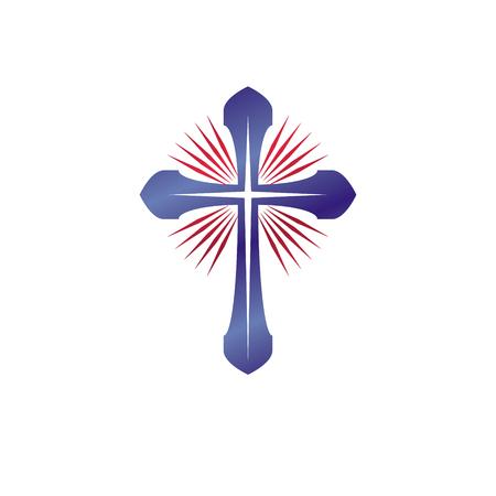 Christian Cross emblem. Heraldic Coat of Arms decorative logo isolated vector illustration. Religion and spirituality theme symbol. Vettoriali