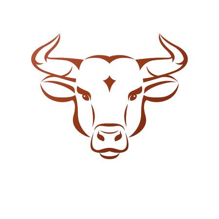 Bull head ancient emblem animal element. Heraldic vector design element. Retro style label, heraldry logo. Illustration