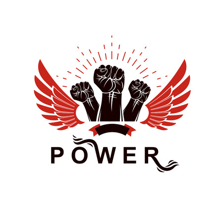 Winged clenched fists of angry people vector emblem. People demonstration, fighting for their rights and freedom.