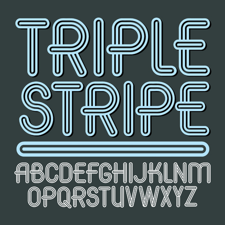 Set of trendy vector capital alphabet letters isolated. Retro type font, script from a to z can be used for icon creation. Made with geometric parallel triple lines.