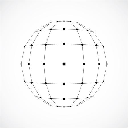 Objet sphérique numérique 3D wireframe vectoriel réalisé à l'aide de facettes.