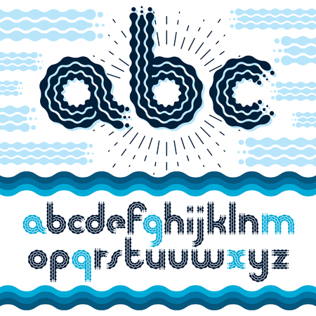 Vector elegant ornate lower case English alphabet letters, abc collection. Rounded bold retro font, typescript can be used in art creation. Made using flow, wavy lines.