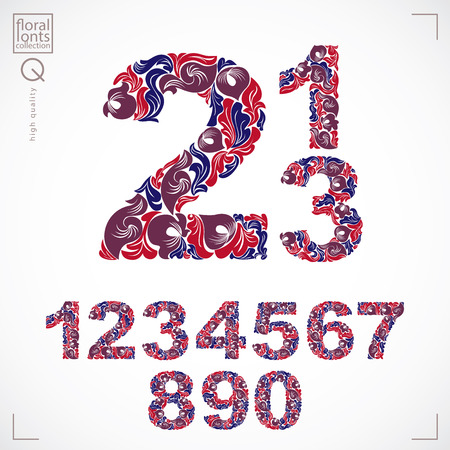 Ecology style flowery numbers, vector numeration made using natural ornament. Digits created with red autumn leaves and floral design.