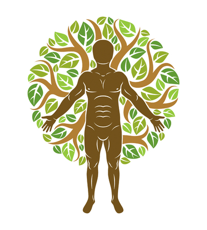 Vector athletic man created using organic green tree leaves. Downshifting and ecotourism concept illustration.