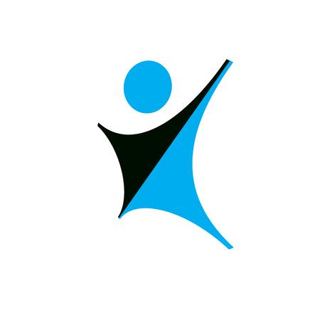 도달과 행복 추상 인간의 벡터 일러스트 레이 션. 자유 개념 로고. 행복 은유 로고. 비즈니스 혁신 아이디어 창조적 인 기호입니다. 일러스트