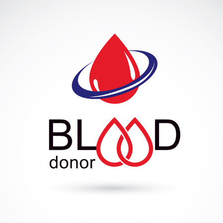 Blood donation inscription isolated on white. Vector red blood drops. The 14 June, world blood donor day. Medical theme graphic symbol.