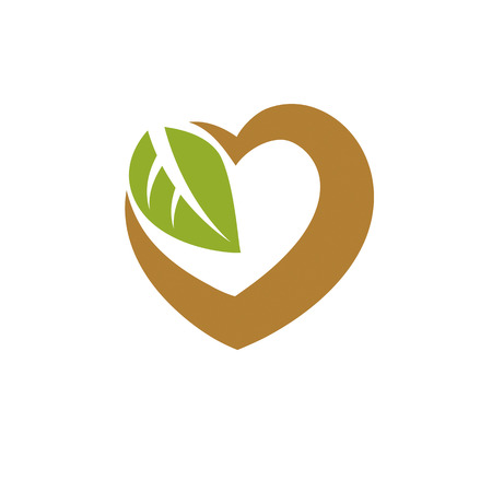 Vector heart shape illustration composed with green leaves. Living in harmony with nature concept, green health idea symbol. Illustration
