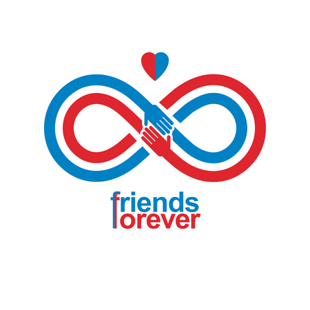 Infinity sign with two hands touching each other, infinite friendship concept, forever friends vector creative.