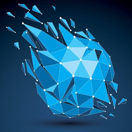 3d vector low poly object with blue connected lines and dots, geometric wire frame shape with refraction. Asymmetric perspective shattered form. Luminescent effect, communication technology. Ilustrace