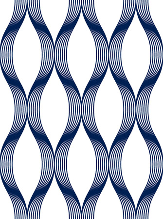 Geometric seamless pattern, abstract tiling background, vector repeat endless wallpaper illustration. Wavy curve shapes trendy repeat motif. Single color, black and white. Usable for fabric, wallpaper, wrapping, web and print. Vectores