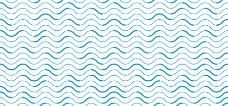 Wavy lines regular repeat endless background, vector abstract seamless pattern, technical digital style blue colored rhythmic waves.