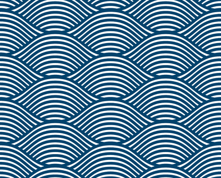 Water waves seamless pattern, vector curve lines abstract repeat tiling background, blue colored rhythmic waves. Ilustração