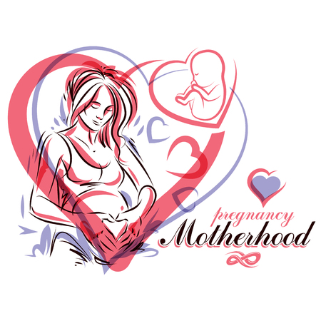 Elegant pregnant woman body silhouette drawing. Vector illustration of mother-to-be fondles her belly. Neonatal care center advertising poster.