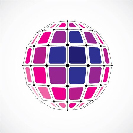3d vector low poly spherical object with black connected lines and dots, geometric purple wire frame shape. Perspective facet orb created with squares.