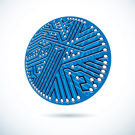 Vector microchip design, cpu. Information communication technology element, circuit board in round shape.