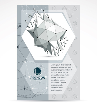 Web technologies company booklet cover design. 3d origami abstract gray-scale mesh object, vector abstract design element with broken fractures.