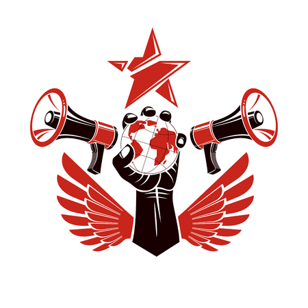 Decorative vector emblem composed with muscular raised clenched fist holding globe, liberty wings and megaphones. Global authority as the means of political and social influence.