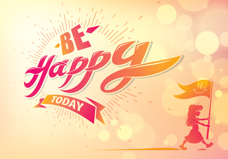 Be Happy vector greeting card with walking boy silhouette. Includes beautiful lettering composition placed over blurred colorful abstract background. Square shape format with CMYK colors acceptable for print.