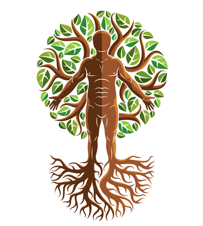 Vector graphic illustration of strong male, body silhouette standing on white background and made using tree roots and green leaves. Tree of life metaphor, family roots.