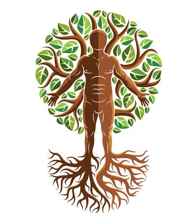 Graficzna ilustracja wektorowa silnego mężczyzny, sylwetka ciała stojącego na białym tle i wykonana przy użyciu korzeni drzew i zielonych liści. Drzewo życia metafora, korzenie rodzinne.
