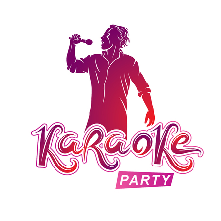 Happy man with microphone sings karaoke, famous superstar concert invitation flyer. Karaoke party writing.