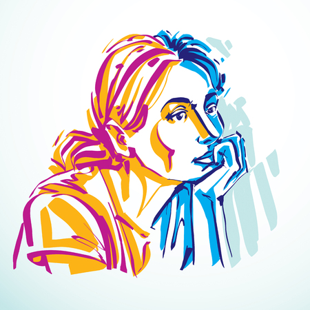 Vector portrait of attractive dreamy woman, facial expressions of young lady. Art illustration of melancholic girl in minimalism style, outline.