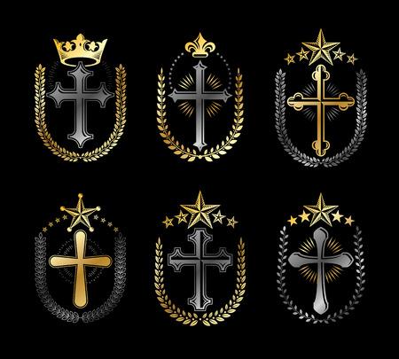 Crosses of Christianity emblems set. Heraldic vector design elements collection. Retro style label, heraldry symbol.