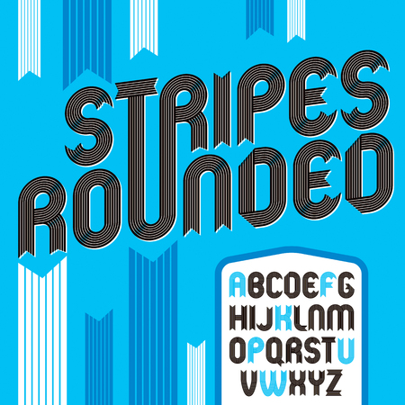 Set of trendy modern vector capital alphabet letters isolated. Funky bold rounded font for use as business poster design elements, newspaper. Created using geometric stripes.   Illustration
