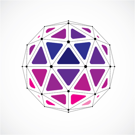 3d vector low poly spherical object with black connected lines and dots, geometric purple wire frame shape. Perspective orb created with triangular facets. Illustration