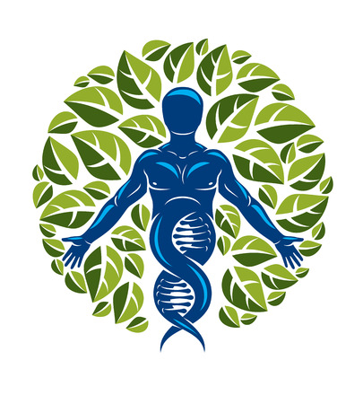 Vector individual, mystic character deriving from DNA strands and made with eco tree leaves. Recycling and reuse concept, renewable resources idea. 向量圖像