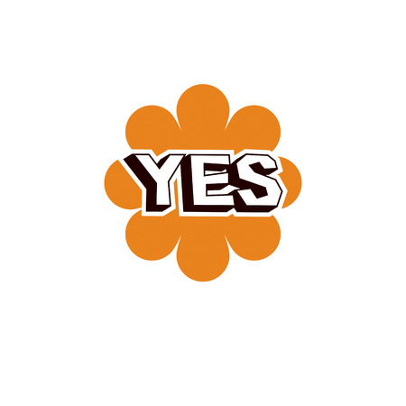 Yellow checkmark with yes word, approved. Vector verify sign isolated on white.