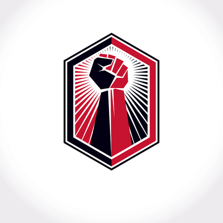 Revolution leader abstract sign, vector red clenched fist raised up. Can be used as tattoo.