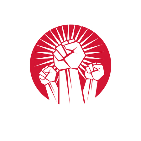 Vector symbol made with raised arm of a muscular male. Power and authority conceptual symbol.