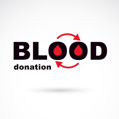 Blood donation vector symbol created with red blood drops and circulation arrows. Volunteer donorship, healthcare and medical treatment conceptual symbol.