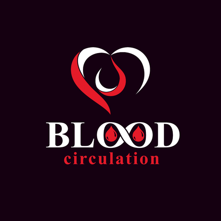 Vector illustration of heart shape and blood drop. Blood circulation conceptual emblem.
