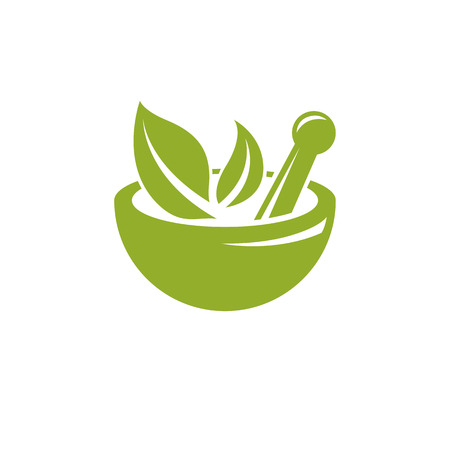 Vector illustration of mortar and pestle isolated on white. Alternative medicine concept, phytotherapy symbol.