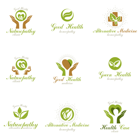 Living in harmony with nature metaphor, set of green health idea signage. Wellness center abstract modern emblems.