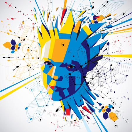 Futuristischer Hintergrund des Vektor 3d gemacht unter Verwendung der Bauhauselemente. Kopf der Frau, die mit den Gedanken explodiert, die in der niedrigen Polyart geschaffen werden, kann in den Plakaten und in den Darstellungen bezüglich der menschlichen Fantasie benutzt werden. Standard-Bild - 92686538