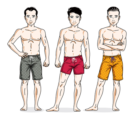 Handsome men group standing wearing beach shorts. Vector different people characters set. Illustration