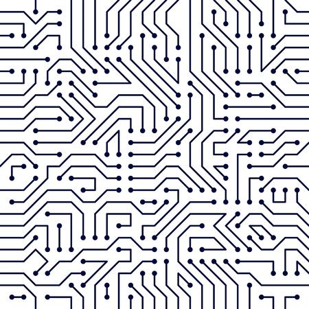Modelo inconsútil del tablero de la placa madre, fondo del vector. Placa de circuito tecnología electrónica papel tapiz diseño repetición.