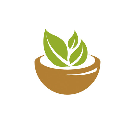 Vector illustration of mortar and pestle isolated on white. Alternative medicine concept, phytotherapy symbol. Illustration